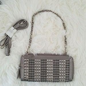 Silver studded clutch/shoulder bag